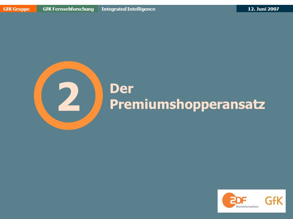 GfK GruppeGfK Fernsehforschung 12. Juni 2007 Integrated Intelligence Der Premiumshopperansatz 2