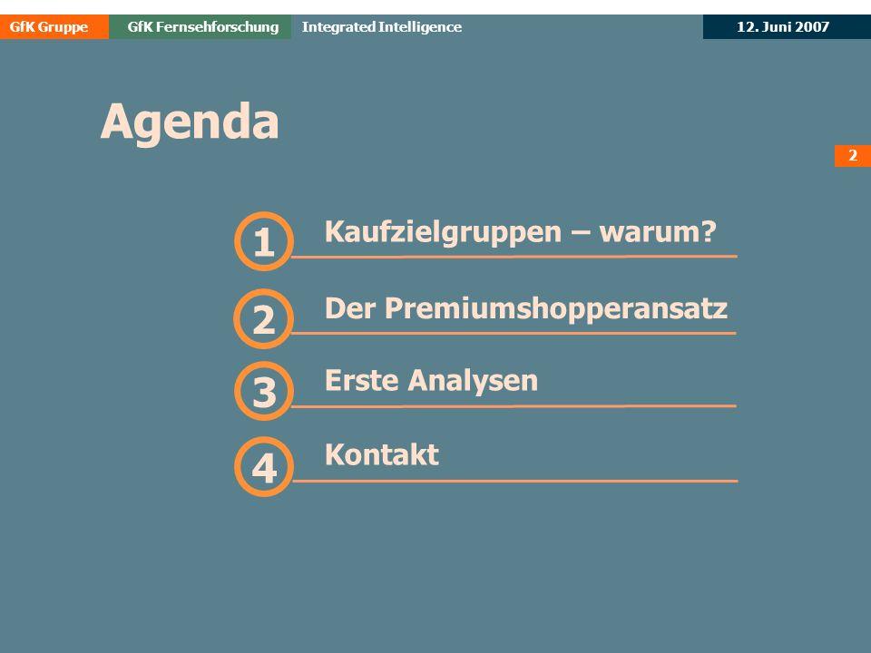 GfK GruppeGfK Fernsehforschung 12. Juni 2007 Integrated Intelligence Kaufzielgruppen – warum? 1
