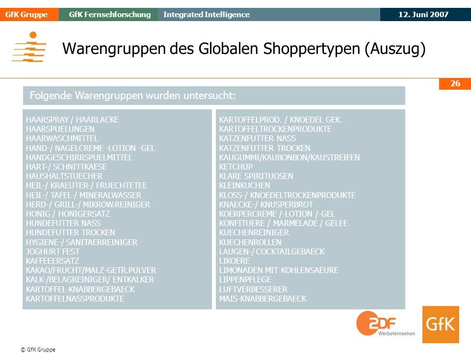 May 2006Evogenius GfK GruppeGfK Fernsehforschung 12. Juni 2007 Integrated Intelligence © GfK Gruppe 26 Warengruppen des Globalen Shoppertypen (Auszug)