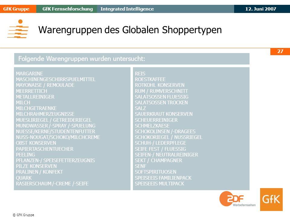 May 2006Evogenius GfK GruppeGfK Fernsehforschung 12. Juni 2007 Integrated Intelligence © GfK Gruppe 27 Warengruppen des Globalen Shoppertypen REIS ROE