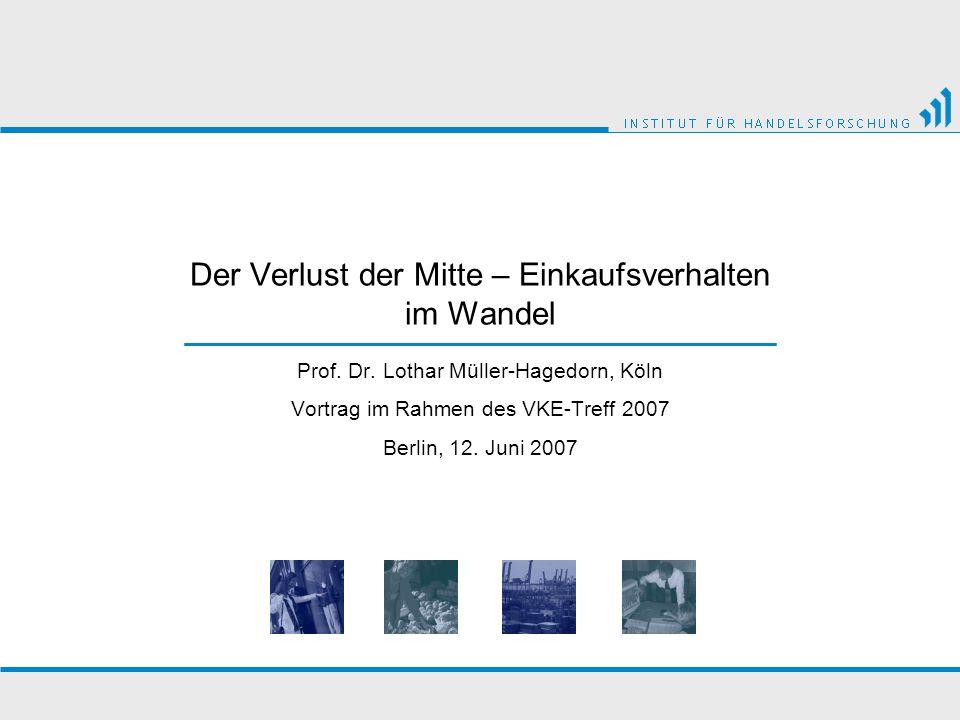 Der Verlust der Mitte – Einkaufsverhalten im Wandel Prof. Dr. Lothar Müller-Hagedorn, Köln Vortrag im Rahmen des VKE-Treff 2007 Berlin, 12. Juni 2007