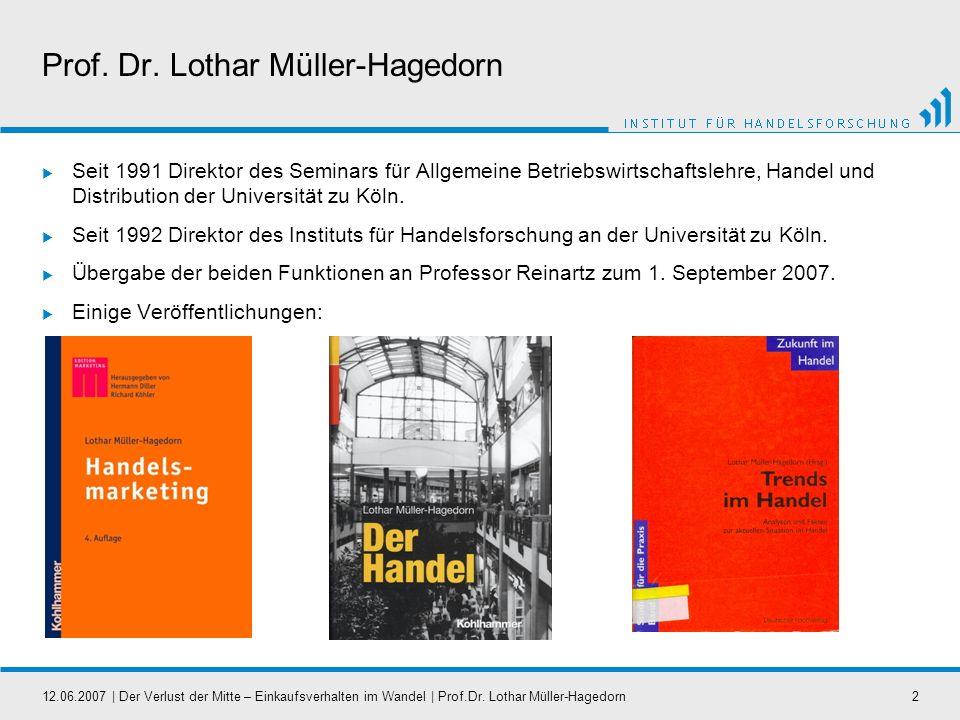 12.06.2007   Der Verlust der Mitte – Einkaufsverhalten im Wandel   Prof.Dr. Lothar Müller-Hagedorn2 Prof. Dr. Lothar Müller-Hagedorn Seit 1991 Direkto