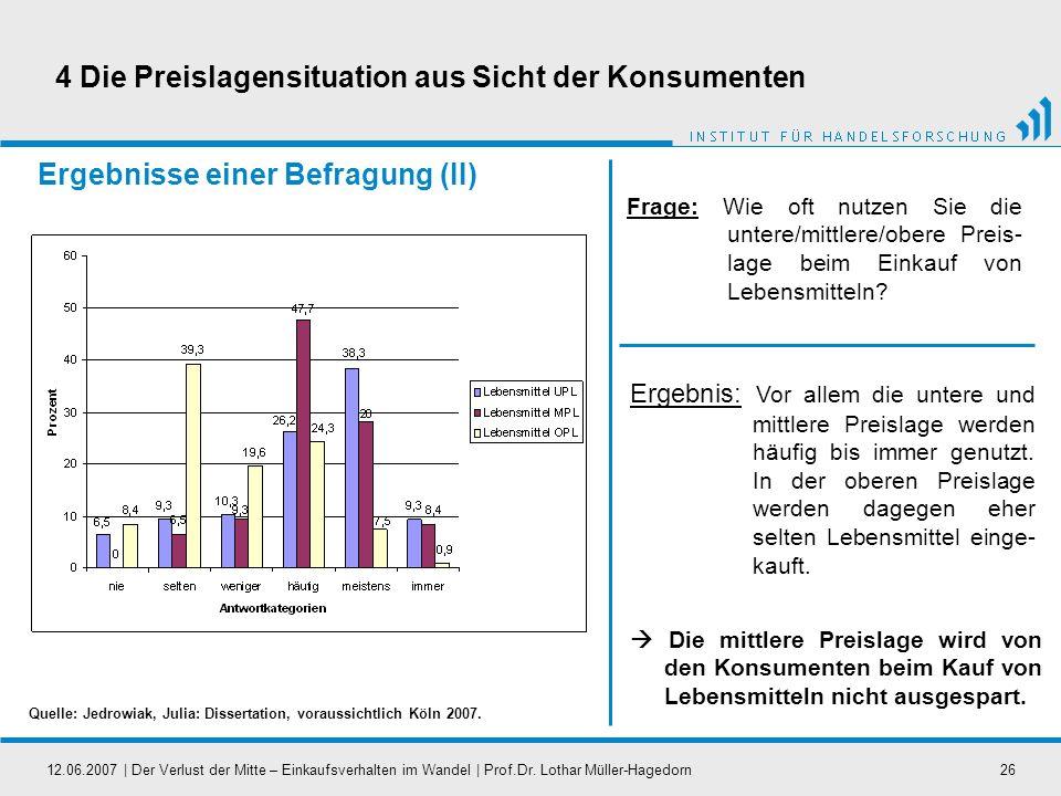 12.06.2007   Der Verlust der Mitte – Einkaufsverhalten im Wandel   Prof.Dr. Lothar Müller-Hagedorn26 Ergebnisse einer Befragung (II) Frage: Wie oft nu