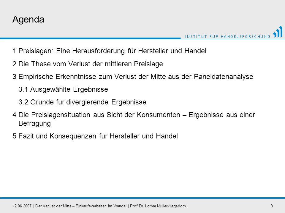 12.06.2007   Der Verlust der Mitte – Einkaufsverhalten im Wandel   Prof.Dr. Lothar Müller-Hagedorn3 Agenda 1 Preislagen: Eine Herausforderung für Hers
