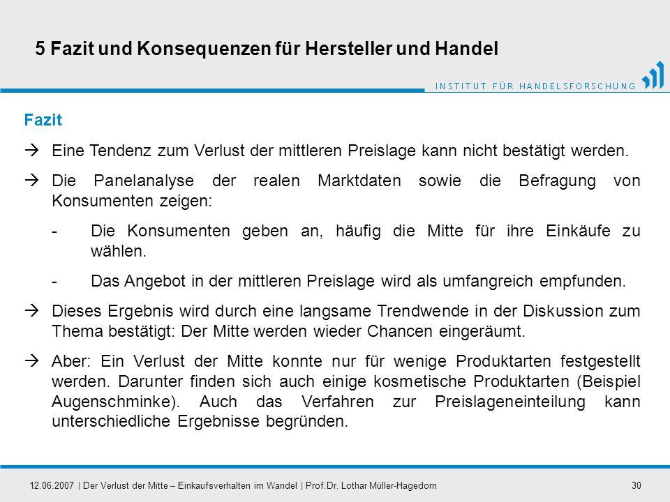 12.06.2007   Der Verlust der Mitte – Einkaufsverhalten im Wandel   Prof.Dr. Lothar Müller-Hagedorn30 Fazit Eine Tendenz zum Verlust der mittleren Prei