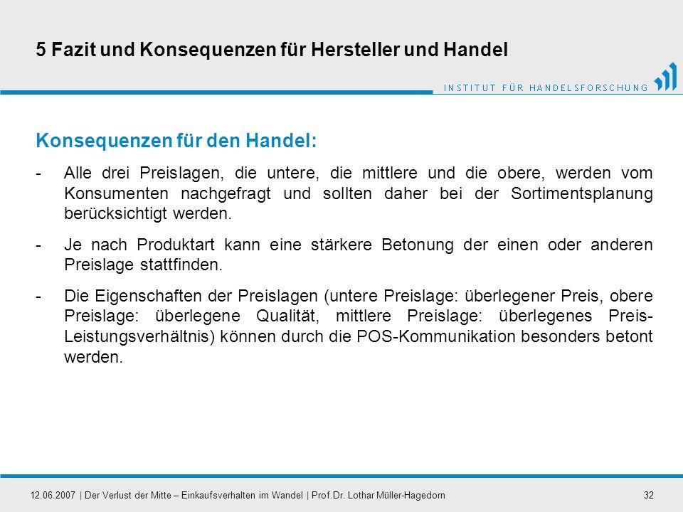 12.06.2007   Der Verlust der Mitte – Einkaufsverhalten im Wandel   Prof.Dr. Lothar Müller-Hagedorn32 5 Fazit und Konsequenzen für Hersteller und Hande
