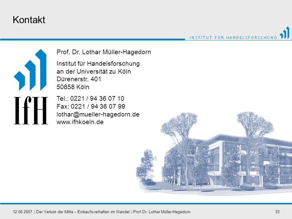 12.06.2007   Der Verlust der Mitte – Einkaufsverhalten im Wandel   Prof.Dr. Lothar Müller-Hagedorn33 Kontakt Prof. Dr. Lothar Müller-Hagedorn Institut