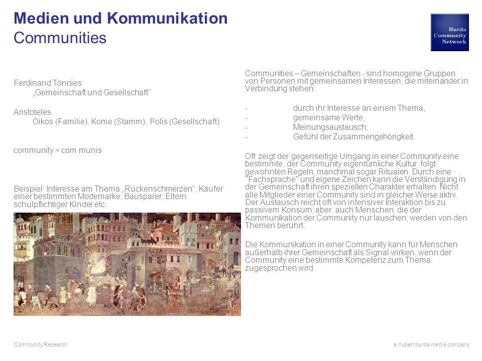 a hubert burda media company Community Research Medien und Kommunikation Communities Ferdinand Tönnies Gemeinschaft und Gesellschaft Aristoteles Oikos