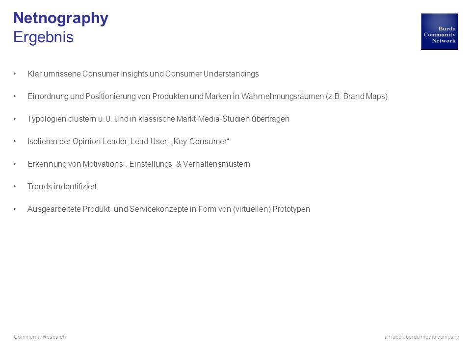 a hubert burda media company Community Research Netnography Ergebnis Klar umrissene Consumer Insights und Consumer Understandings Einordnung und Posit