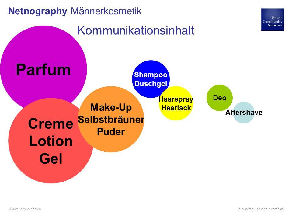 a hubert burda media company Community Research Netnography Männerkosmetik Parfum Creme Lotion Gel Make-Up Selbstbräuner Puder Shampoo Duschgel Haarsp