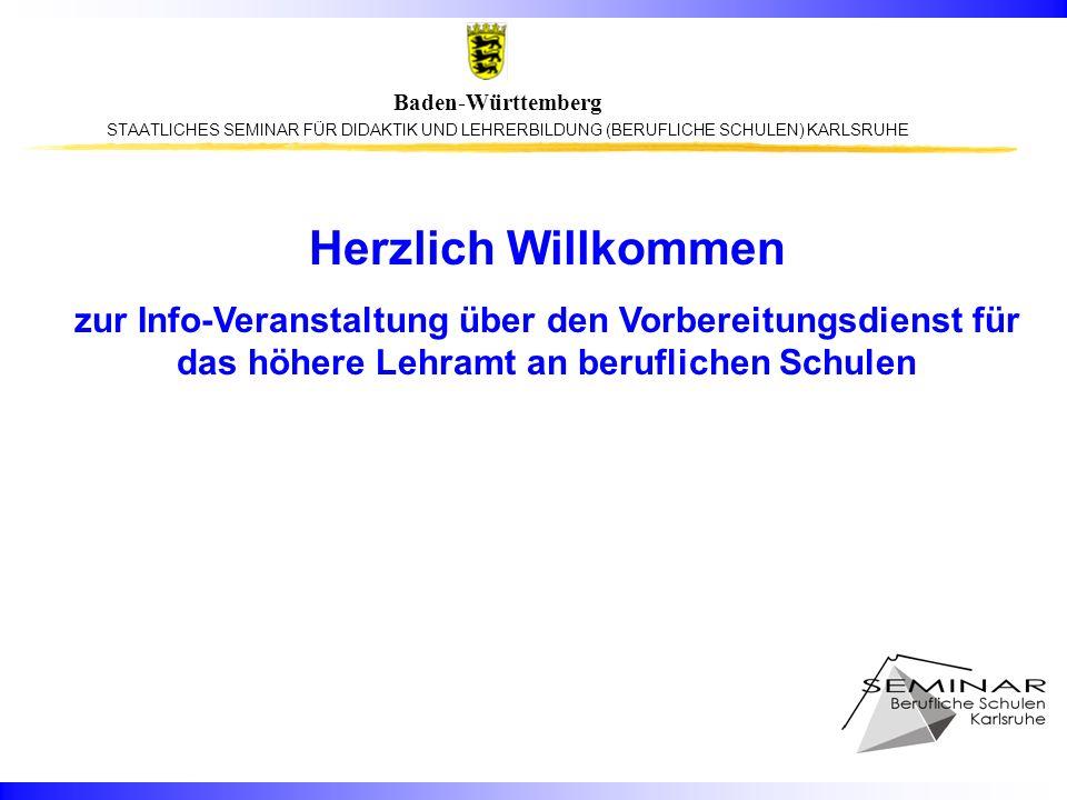 STAATLICHES SEMINAR FÜR DIDAKTIK UND LEHRERBILDUNG (BERUFLICHE SCHULEN) KARLSRUHE Baden-Württemberg Hotlines für Fragen zur Lehrereinstellung in Baden- Württemberg Regierungspräsidium Stuttgart: 0711 904 - 40128 Regierungspräsidium Tübingen: 07071 200 – 2080 Regierungspräsidium Karlsruhe: 0721 926 - 4495 Regierungspräsidium Freiburg: 0761 208 - 6289 Generelle Fragen beantwortet das Ministerium für Kultus, Jugend und Sport: Kultusministerium Stuttgart: 0711 279 - 2569 0711 279 - 2507