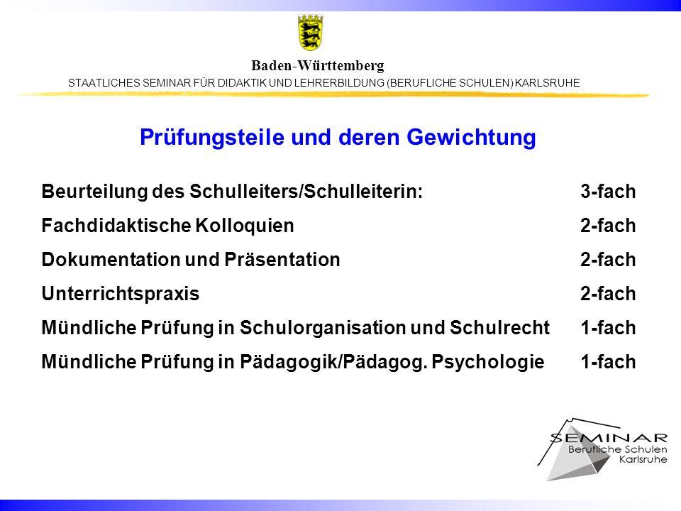 STAATLICHES SEMINAR FÜR DIDAKTIK UND LEHRERBILDUNG (BERUFLICHE SCHULEN) KARLSRUHE Baden-Württemberg Prüfungsteile und deren Gewichtung Beurteilung des Schulleiters/Schulleiterin: 3-fach Fachdidaktische Kolloquien2-fach Dokumentation und Präsentation2-fach Unterrichtspraxis2-fach Mündliche Prüfung in Schulorganisation und Schulrecht1-fach Mündliche Prüfung in Pädagogik/Pädagog.
