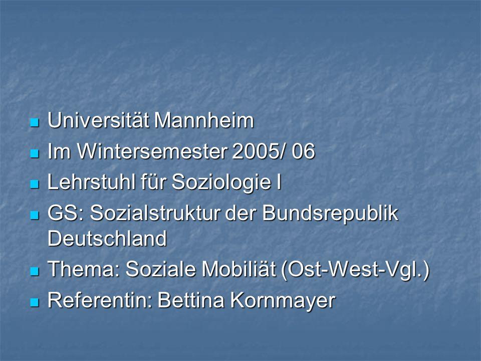 Universität Mannheim Universität Mannheim Im Wintersemester 2005/ 06 Im Wintersemester 2005/ 06 Lehrstuhl für Soziologie I Lehrstuhl für Soziologie I