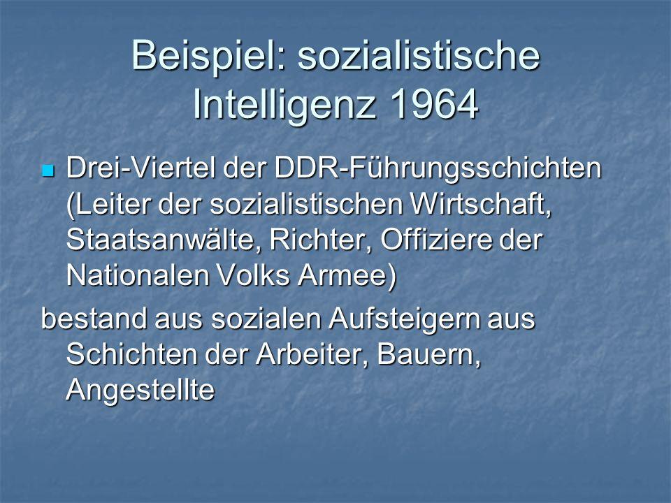 Beispiel: sozialistische Intelligenz 1964 Drei-Viertel der DDR-Führungsschichten (Leiter der sozialistischen Wirtschaft, Staatsanwälte, Richter, Offiz