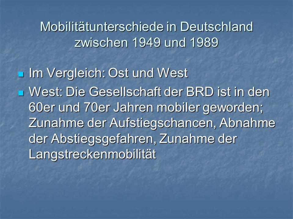 Mobilitätunterschiede in Deutschland zwischen 1949 und 1989 Im Vergleich: Ost und West Im Vergleich: Ost und West West: Die Gesellschaft der BRD ist i