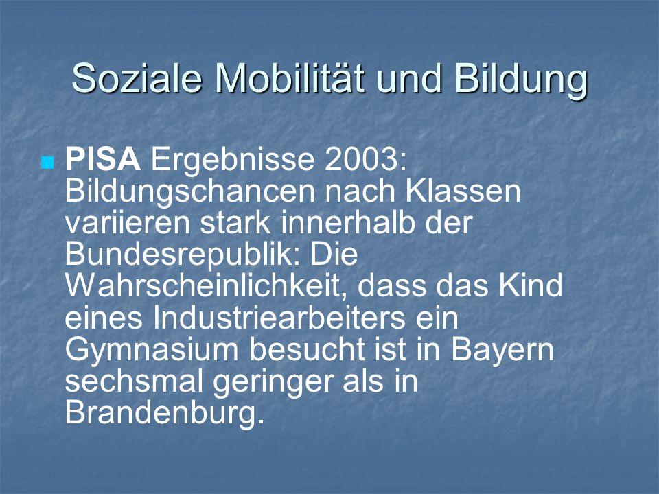 PISA Ergebnisse 2003: Bildungschancen nach Klassen variieren stark innerhalb der Bundesrepublik: Die Wahrscheinlichkeit, dass das Kind eines Industrie