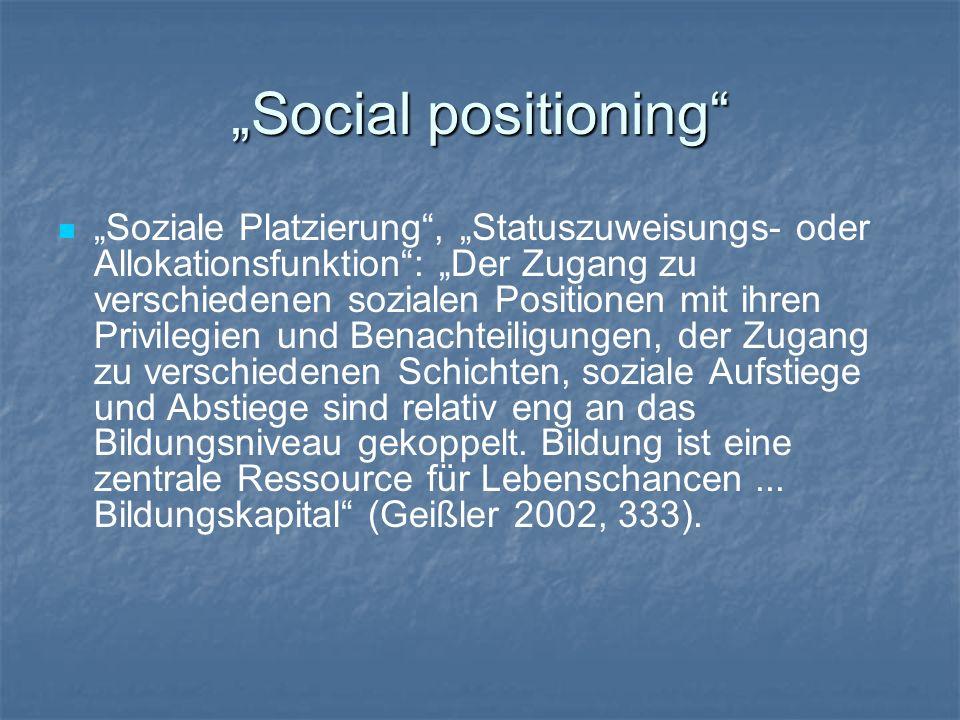 Social positioning Soziale Platzierung, Statuszuweisungs- oder Allokationsfunktion: Der Zugang zu verschiedenen sozialen Positionen mit ihren Privileg