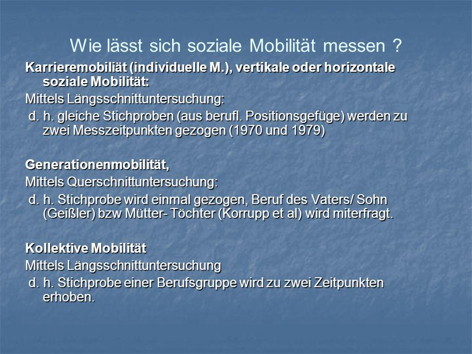 Wie lässt sich soziale Mobilität messen ? Karrieremobiliät (individuelle M.), vertikale oder horizontale soziale Mobilität: Mittels Längsschnittunters