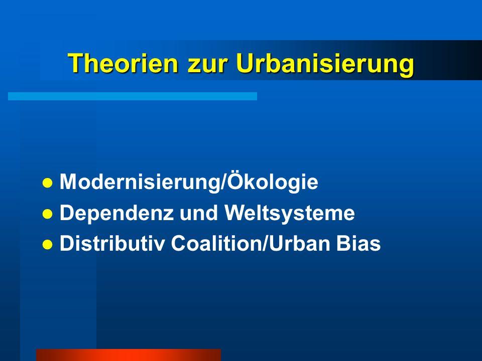 Theorien zur Urbanisierung Modernisierung/Ökologie Dependenz und Weltsysteme Distributiv Coalition/Urban Bias