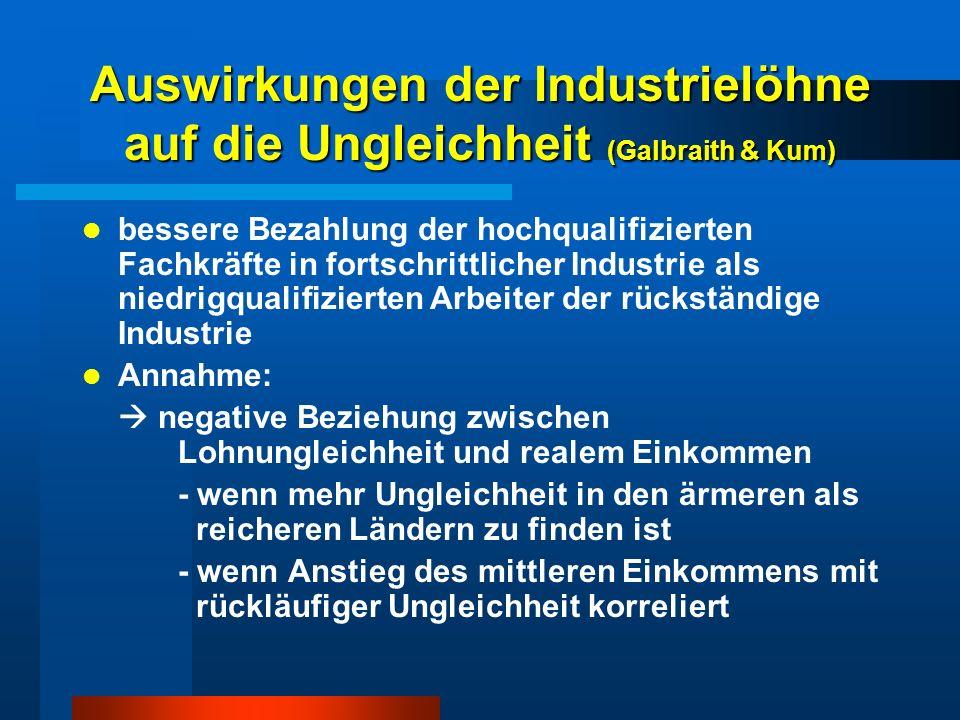 Auswirkungen der Industrielöhne auf die Ungleichheit (Galbraith & Kum) bessere Bezahlung der hochqualifizierten Fachkräfte in fortschrittlicher Indust