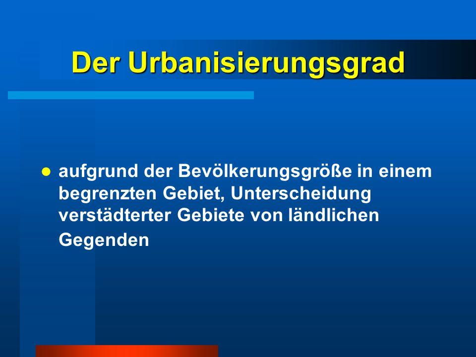 Der Urbanisierungsgrad aufgrund der Bevölkerungsgröße in einem begrenzten Gebiet, Unterscheidung verstädterter Gebiete von ländlichen Gegenden