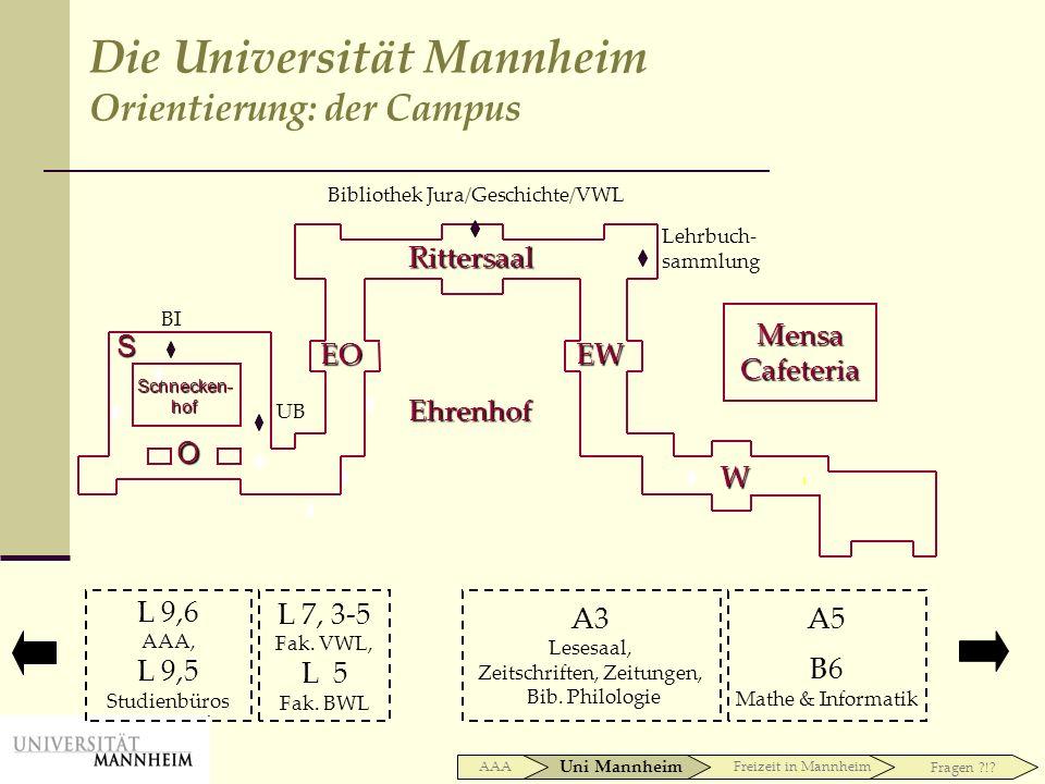 A3 Lesesaal, Zeitschriften, Zeitungen, Bib. Philologie A5 B6 Mathe & Informatik L 7, 3-5 Fak. VWL, L 5 Fak. BWL L 9,6 AAA, L 9,5 Studienbüros Biblioth