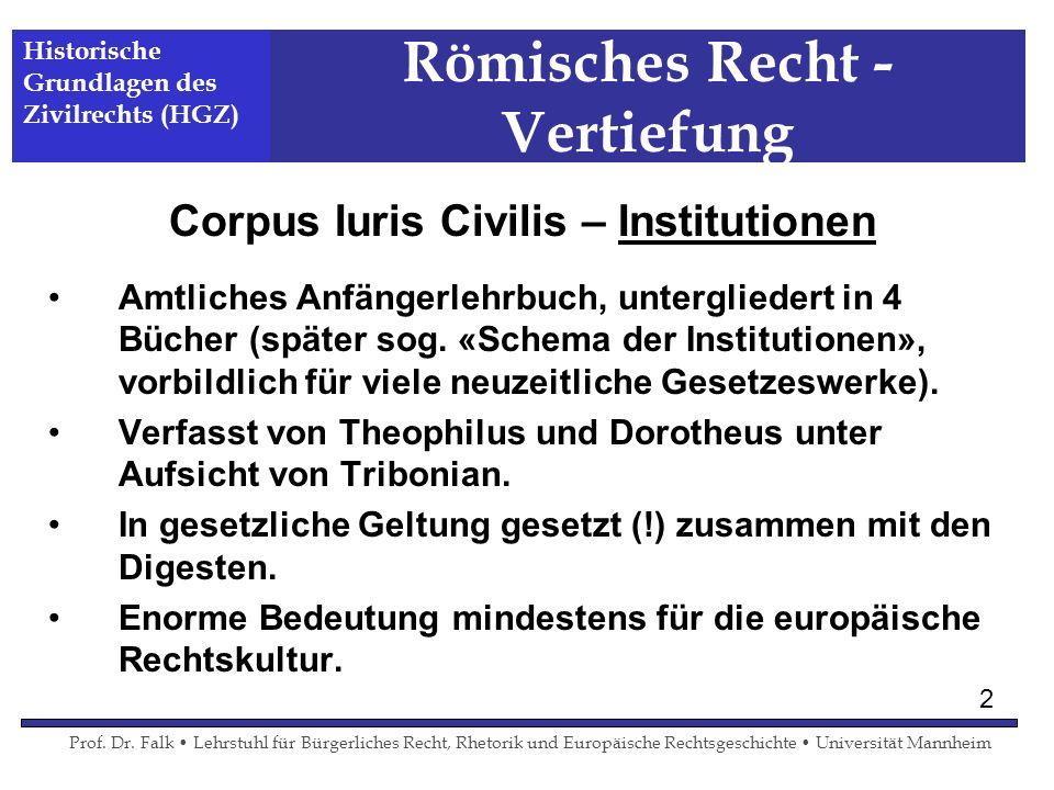 Römisches Recht - Vertiefung Corpus Iuris Civilis – Institutionen Amtliches Anfängerlehrbuch, untergliedert in 4 Bücher (später sog. «Schema der Insti