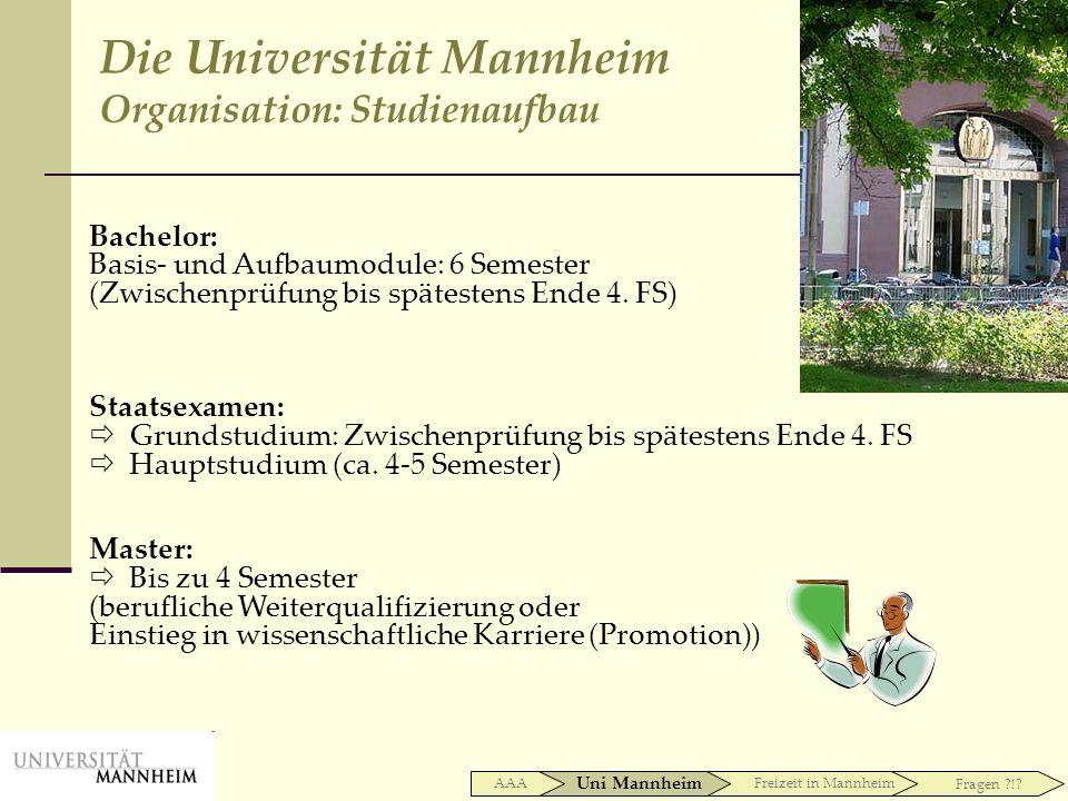 Bachelor: Basis- und Aufbaumodule: 6 Semester (Zwischenprüfung bis spätestens Ende 4. FS) Staatsexamen: Grundstudium: Zwischenprüfung bis spätestens E
