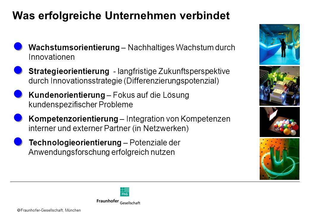 Fraunhofer-Gesellschaft, München Was erfolgreiche Unternehmen verbindet Wachstumsorientierung – Nachhaltiges Wachstum durch Innovationen Strategieorie