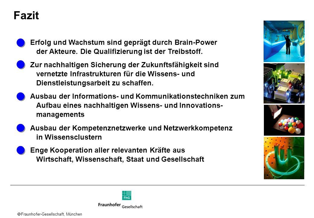 Fraunhofer-Gesellschaft, München Erfolg und Wachstum sind geprägt durch Brain-Power der Akteure. Die Qualifizierung ist der Treibstoff. Zur nachhaltig