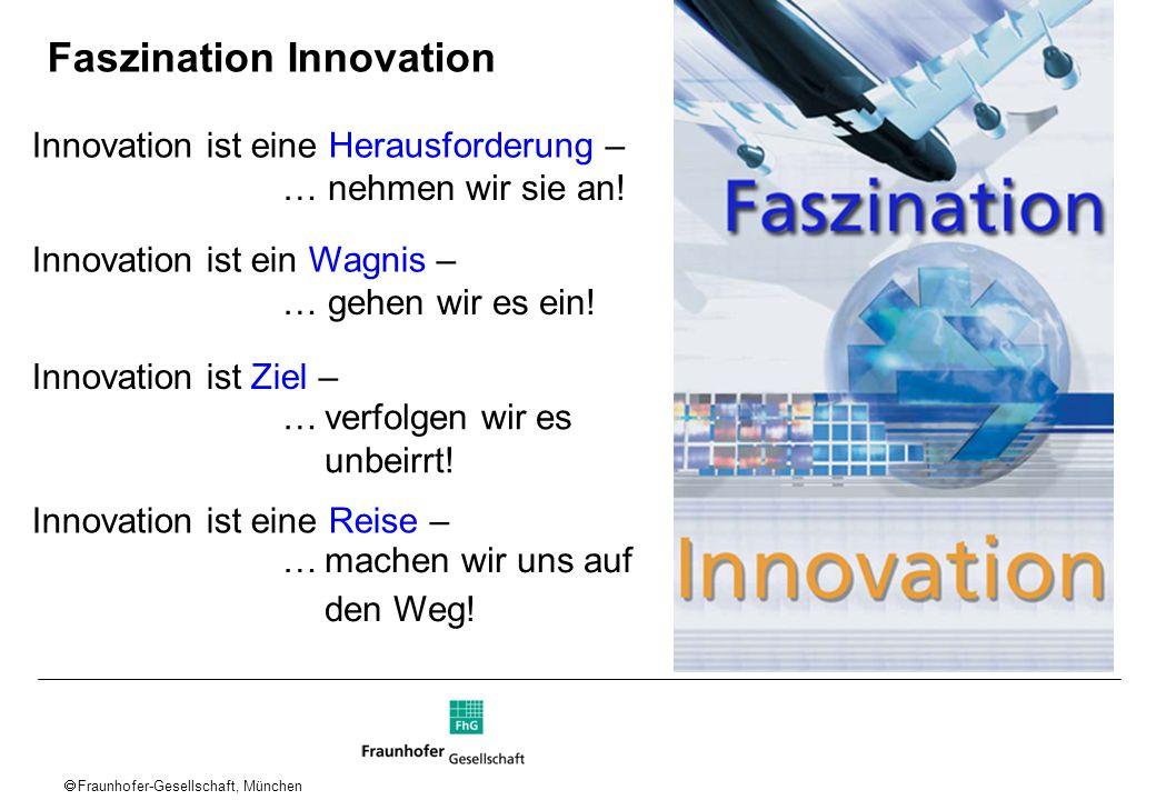 Fraunhofer-Gesellschaft, München Faszination Innovation Innovation ist eine Herausforderung – … nehmen wir sie an! Innovation ist ein Wagnis – … gehen