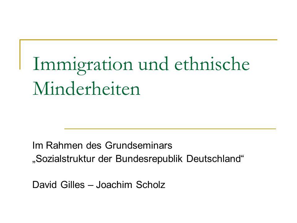 Agenda Teil I: Immigration Aktuelle Stand der Immigration Phasen der Einwanderungspolitik Paradigmen Sense of nationhood Teil II: Integration Formen der Integration Sozioökonomischer Status der Migranten
