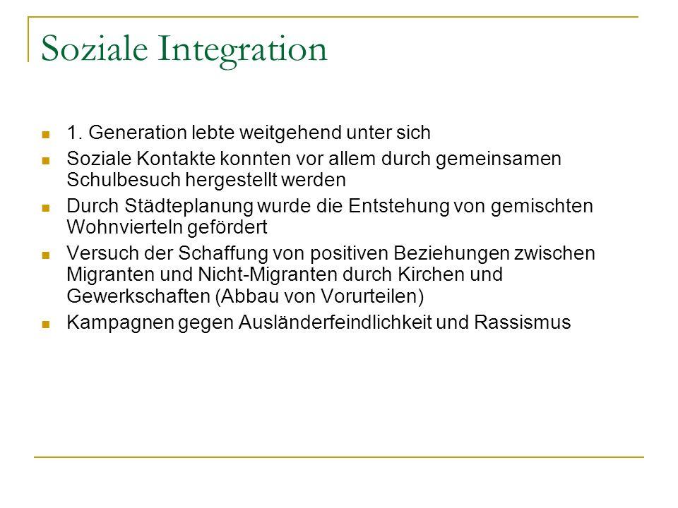 Soziale Integration 1. Generation lebte weitgehend unter sich Soziale Kontakte konnten vor allem durch gemeinsamen Schulbesuch hergestellt werden Durc