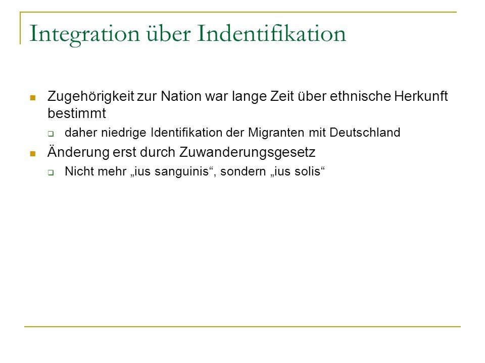 Integration über Indentifikation Zugehörigkeit zur Nation war lange Zeit über ethnische Herkunft bestimmt daher niedrige Identifikation der Migranten