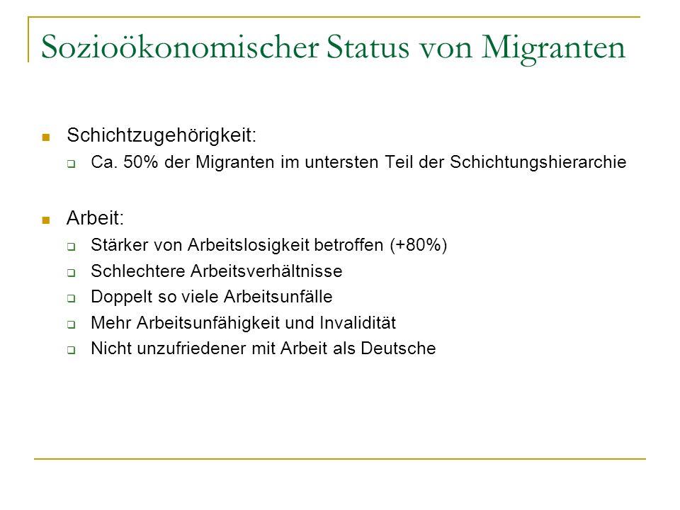 Sozioökonomischer Status von Migranten Schichtzugehörigkeit: Ca. 50% der Migranten im untersten Teil der Schichtungshierarchie Arbeit: Stärker von Arb