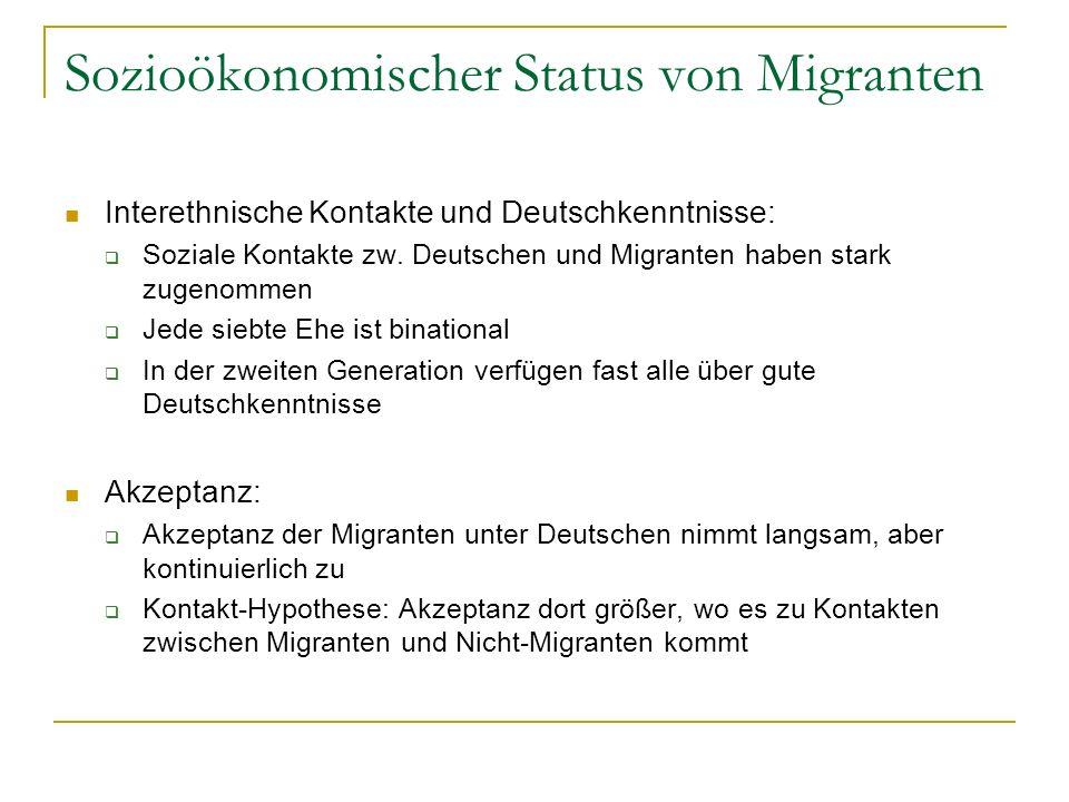 Sozioökonomischer Status von Migranten Interethnische Kontakte und Deutschkenntnisse: Soziale Kontakte zw. Deutschen und Migranten haben stark zugenom