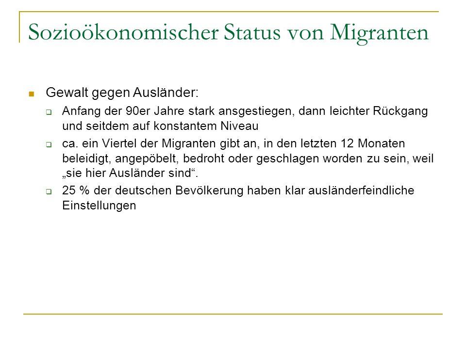 Sozioökonomischer Status von Migranten Gewalt gegen Ausländer: Anfang der 90er Jahre stark ansgestiegen, dann leichter Rückgang und seitdem auf konsta
