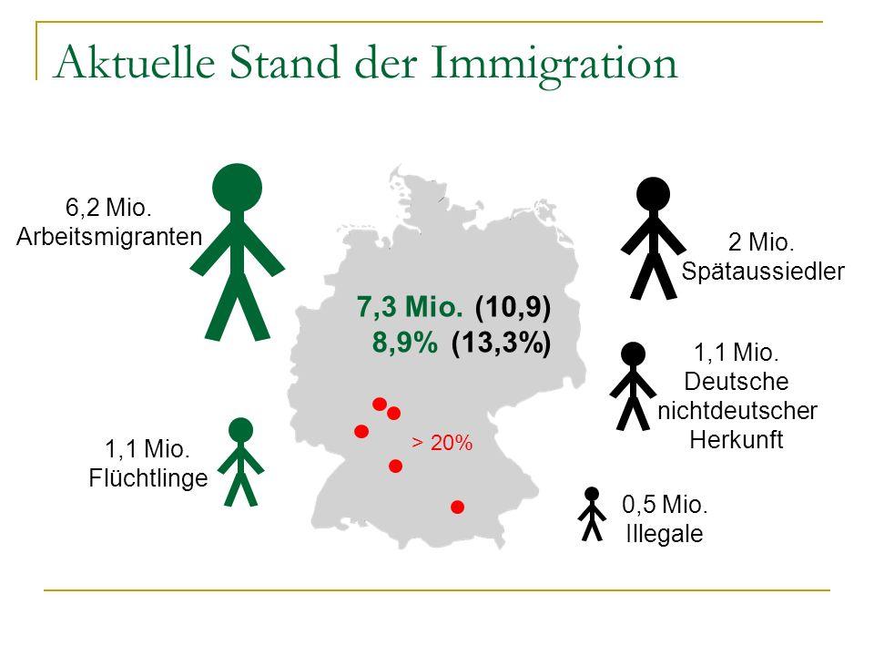 Aktuelle Stand der Immigration 6,2 Mio. Arbeitsmigranten 1,1 Mio. Flüchtlinge 7,3 Mio. 8,9% > 20% 2 Mio. Spätaussiedler 0,5 Mio. Illegale 1,1 Mio. Deu
