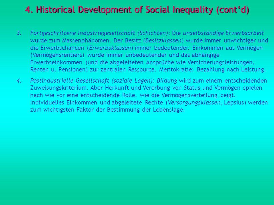 4. Historical Development of Social Inequality (contd) 3.Fortgeschrittene Industriegesellschaft (Schichten): Die unselbständige Erwerbsarbeit wurde zu