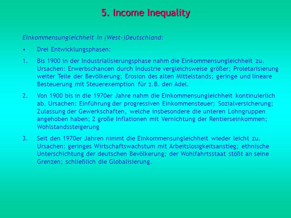 5. Income Inequality Einkommensungleichheit in (West-)Deutschland: Drei Entwicklungsphasen: 1.Bis 1900 in der Industrialisierungsphase nahm die Einkom