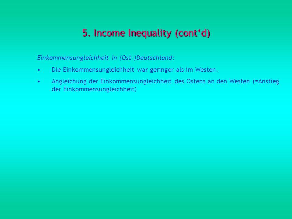 5. Income Inequality (contd) Einkommensungleichheit in (Ost-)Deutschland: Die Einkommensungleichheit war geringer als im Westen. Angleichung der Einko