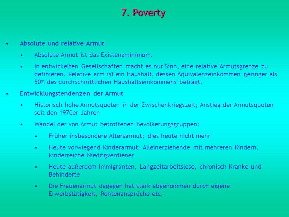 7. Poverty Absolute und relative Armut Absolute Armut ist das Existenzminimum. In entwickelten Gesellschaften macht es nur Sinn, eine relative Armutsg
