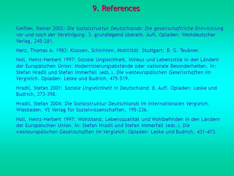 9. References Geißler, Rainer 2002: Die Sozialstruktur Deutschlands: Die gesellschaftliche Entwicklung vor und nach der Vereinigung. 3. grundlegend üb