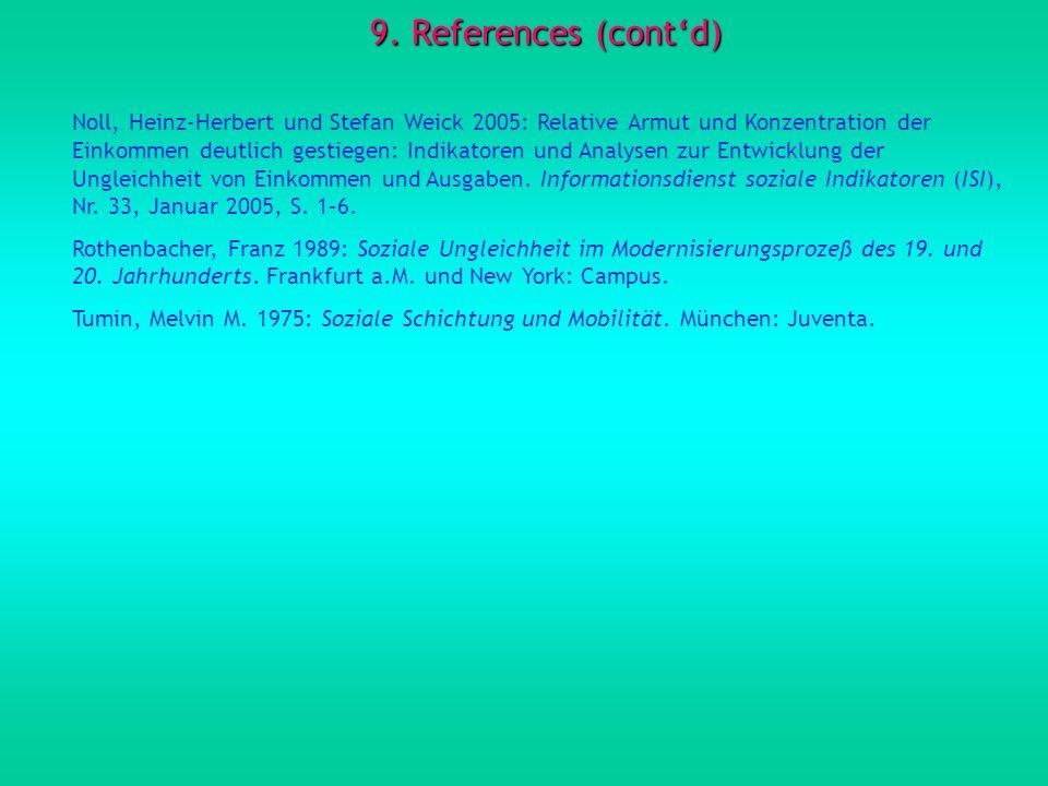9. References (contd) Noll, Heinz-Herbert und Stefan Weick 2005: Relative Armut und Konzentration der Einkommen deutlich gestiegen: Indikatoren und An