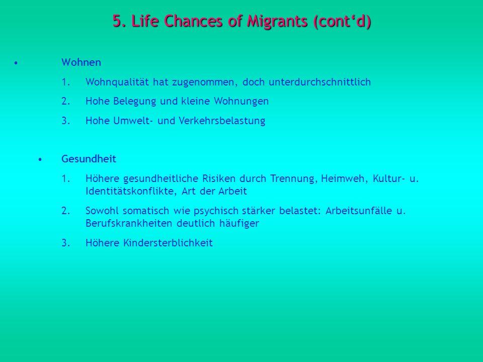5. Life Chances of Migrants (contd) Wohnen 1.Wohnqualität hat zugenommen, doch unterdurchschnittlich 2.Hohe Belegung und kleine Wohnungen 3.Hohe Umwel