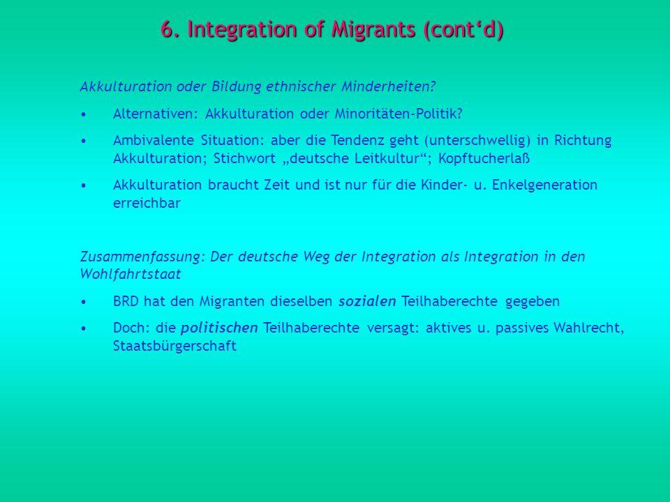 6. Integration of Migrants (contd) Akkulturation oder Bildung ethnischer Minderheiten? Alternativen: Akkulturation oder Minoritäten-Politik? Ambivalen