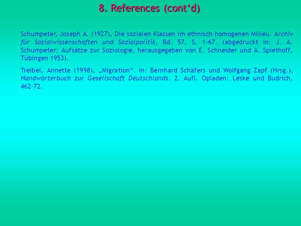 8. References (contd) Schumpeter, Joseph A. (1927), Die sozialen Klassen im ethnisch homogenen Milieu. Archiv für Sozialwissenschaften und Sozialpolit