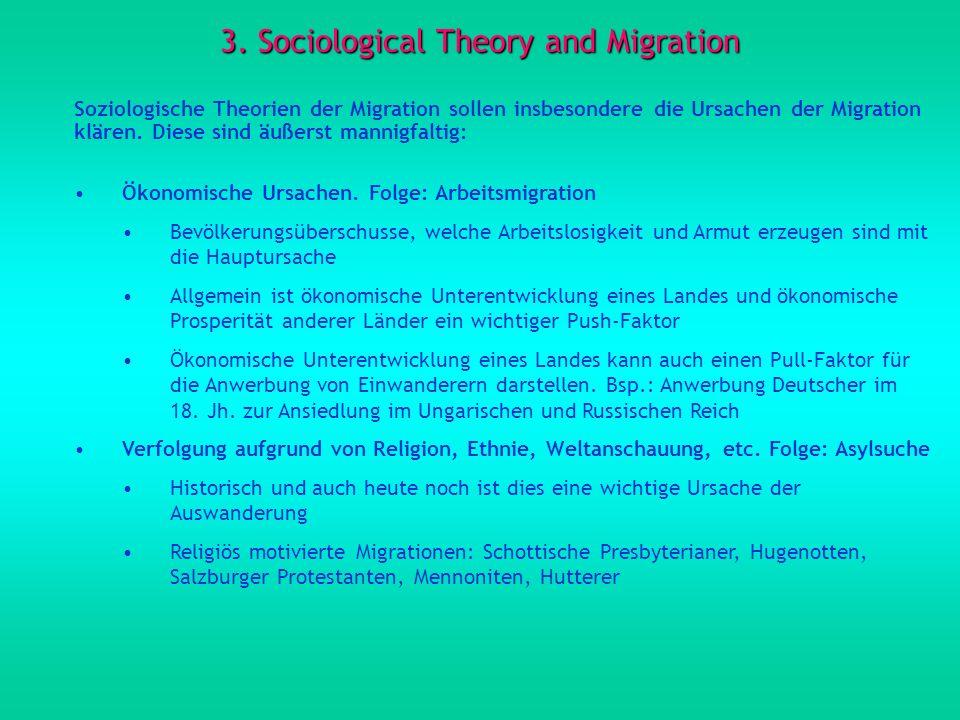 3. Sociological Theory and Migration Soziologische Theorien der Migration sollen insbesondere die Ursachen der Migration klären. Diese sind äußerst ma