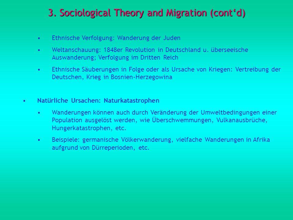 3. Sociological Theory and Migration (contd) Ethnische Verfolgung: Wanderung der Juden Weltanschauung: 1848er Revolution in Deutschland u. überseeisch