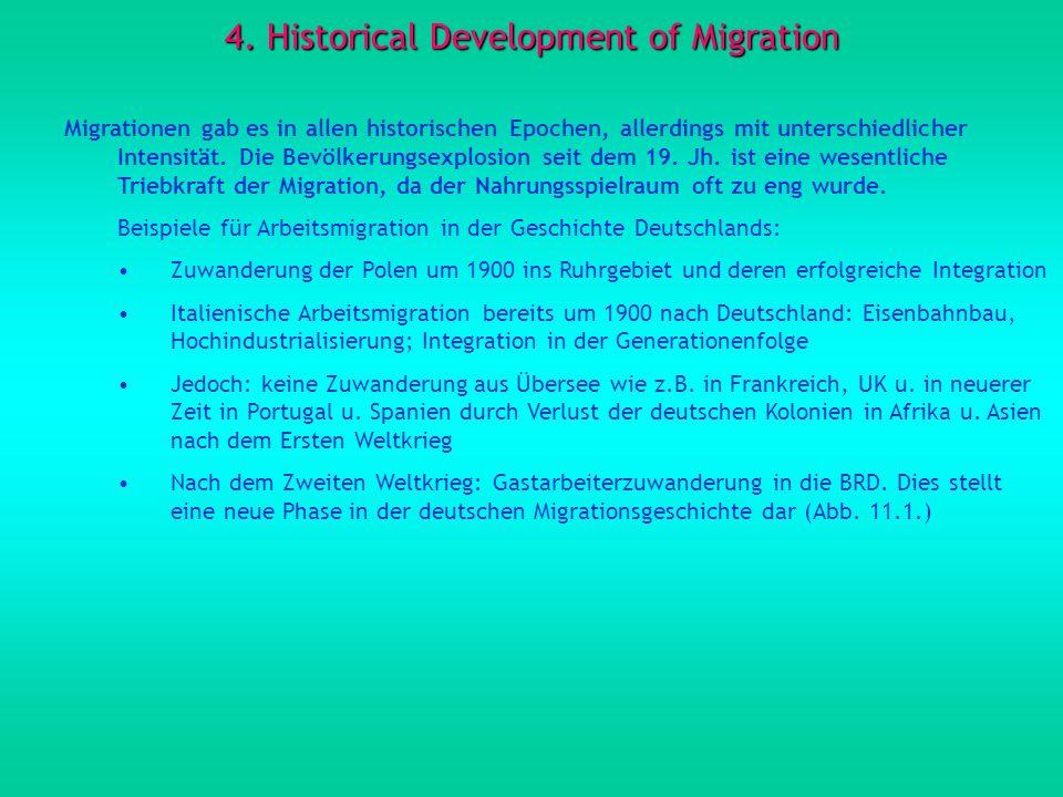 4. Historical Development of Migration Migrationen gab es in allen historischen Epochen, allerdings mit unterschiedlicher Intensität. Die Bevölkerungs